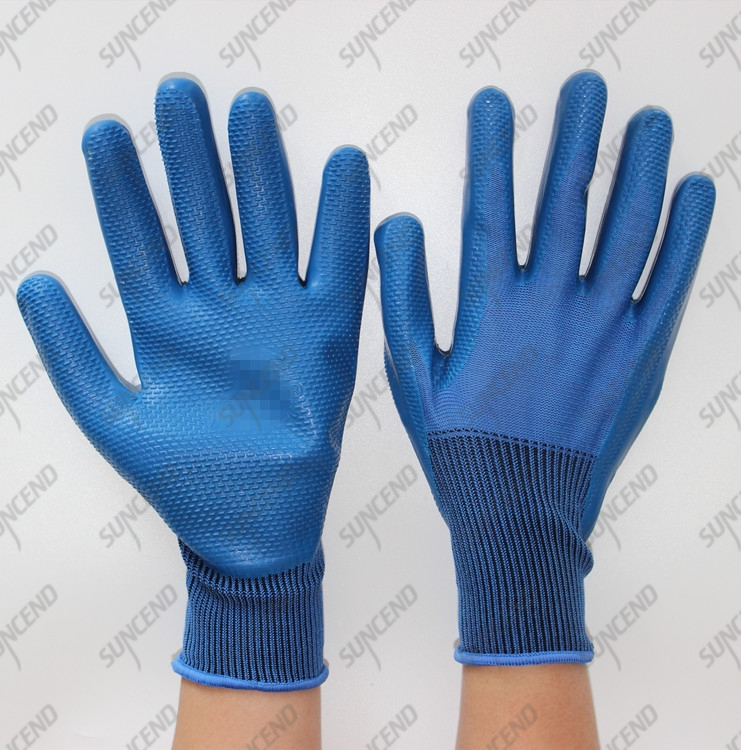 Nylon coated blue latex embossing on palm safety gloves
