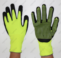 High Visible Nylon+Spandex Seamless Knit Micro Foam Finish PVC Dotted Work Gloves