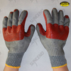 Red rubber palm and joint coated work gloves