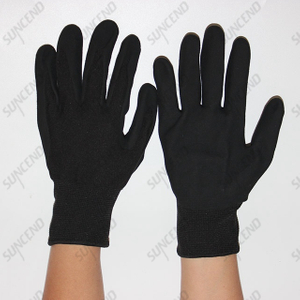High Visible Sandy Nitrile Coated Work Gloves