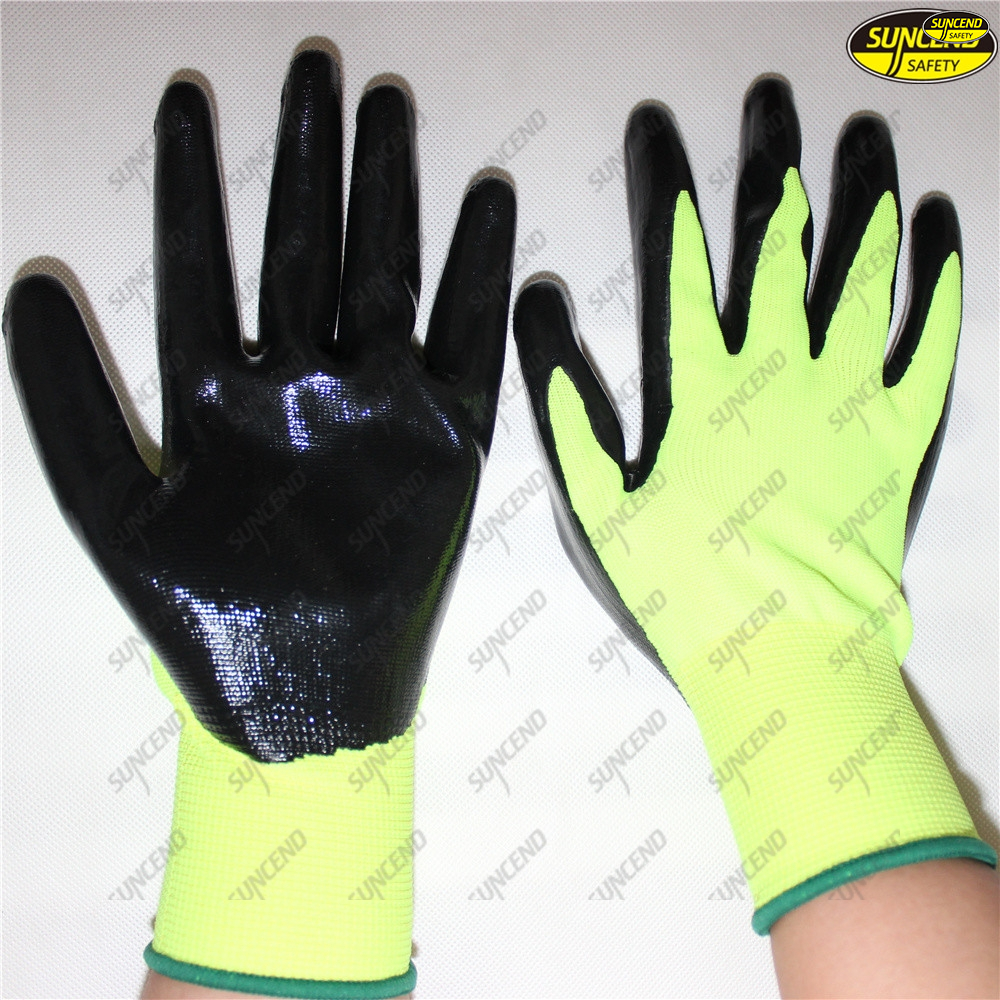 Smooth nitrile coated oil resistant mechanical work gloves