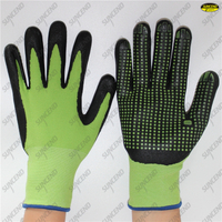 15 gauge spandex + nylon liner micro foam nitrile PVC dotted gloves