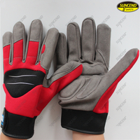 Polyester back synthetic leather palm hand protective safety mechanic gloves