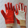 Special coating double smooth red PVC gloves with knit wrist