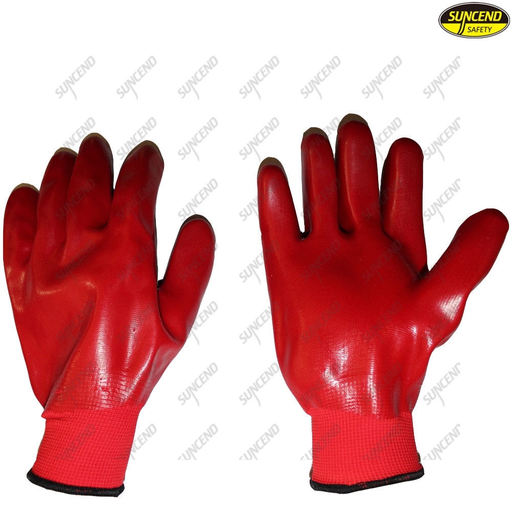 Warm pvc coated gloves construction work safety gloves