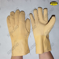 Light yellow latex fully dipped work gloves with crinkle finish